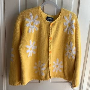 Rey Wear Hand Knitted Vintage Floral Cardigan